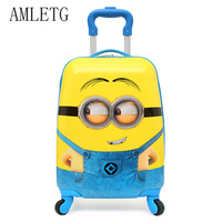 AMLETG 2018 Cartoon Kids Travel Trolley Bags Suitcase For Kids Children Luggage Suitcase Rolling Case Travel Bag On Wheels