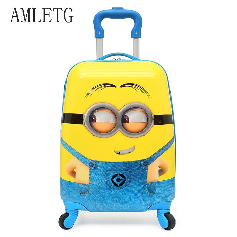 57f7fd9c7167c AMLETG 2018 Karikatür Çocuklar Seyahat Arabası Çanta Bavul Üzerinde  Çocuklar Için Çocuk Bagaj Bavul Haddeleme Durumda Seyahat Çantası  Tekerlekler