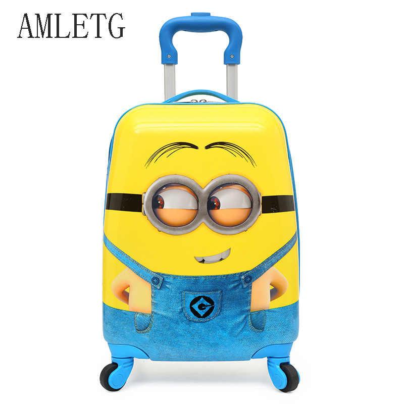 608a0d4b96bd AMLETG 2018 мультфильм детский рюкзак на колесах для путешествий сумки  чемодан для детей чемодан на колесиках