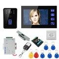 "MOUNTAINONE 7"" RFID Video Door Phone Intercom Doorbell Touch Button Remote Unlock Night Vision + Electric Strike lock"