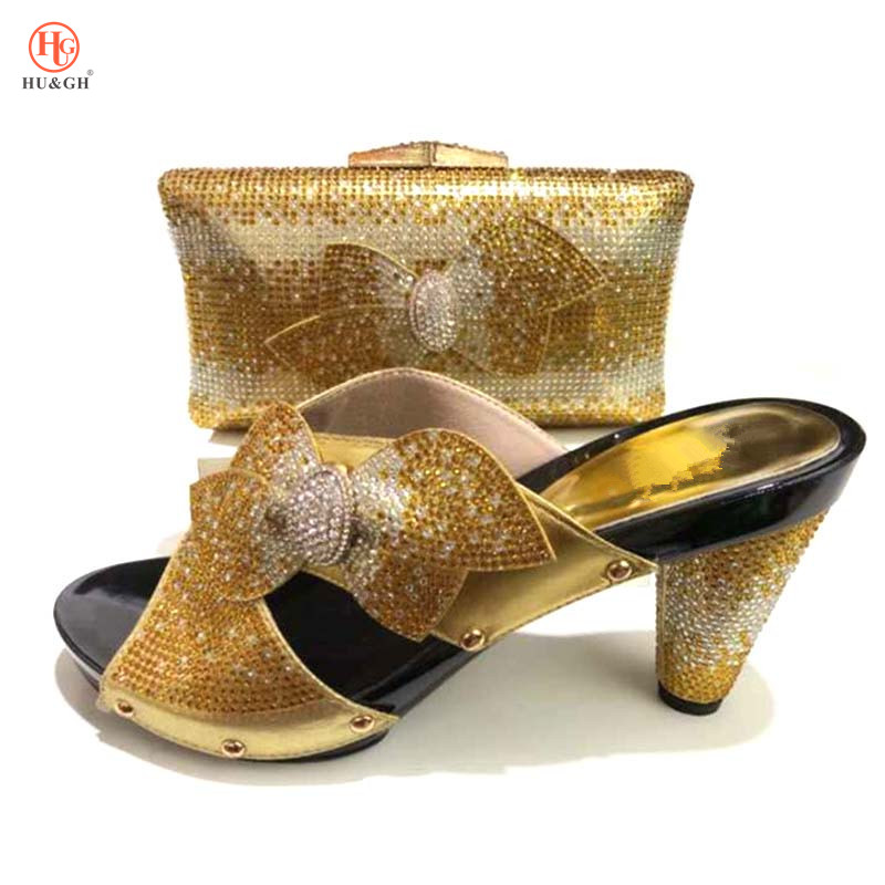 Italian Shoes with Matching Bags for Women Nigerian Women Wedding Shoes and Bag Set Decorated with Rhinestone Gold Color Sandals elegant rhinestone bird decorated bracelet with ring for women