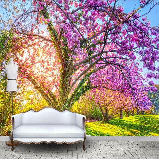 Beibehang Photo Wallpaper Custom Wall Paper Beautiful Garden Cherry Blossom Tree Vines Backdrop Large Murals