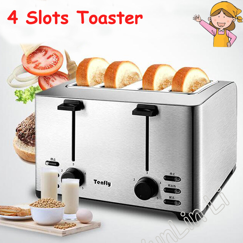 4 Slots Toaster Multi-functional Bread Maker Automatic Household Toasting machine Stainless Steel Break Baking Machine THT-3012B