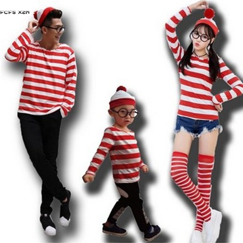 Shirt+Hat+Glasses Family clothes Unisex Where's Wally Cosplays Halloween prisoner Costumes Carnival Purim Masquerade party dress