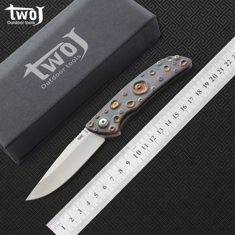 Free shipping High quality TWOJ 3501 Folding knife Blade S35VN satin Handle TC4 Plane bearing outdoor