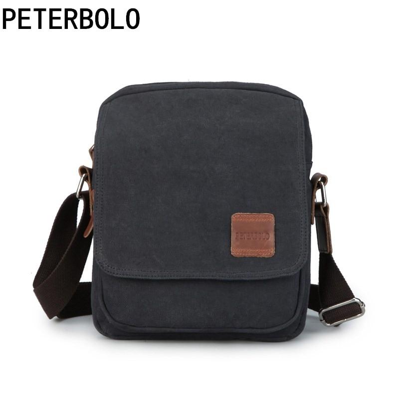 Peterbolo Peterbolo High Quality Canvas Men Shoulder Bag Casual Small Men Crossbody Bag Vintage Travel Bag high quality casual men bag