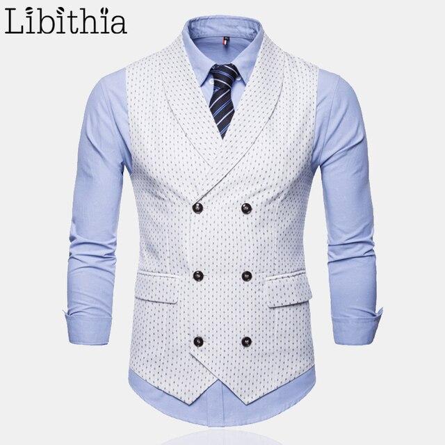 d6c526d2afd Print Suit Vest Men Casual Double-breasted Big Size 4XL Dress Wedding  Autumn Fashion Waistcoat
