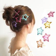 6 Pcs/Pack Star Shape Glitter Metal Snap Hair Clips Girls' Fashion Hair Accessories
