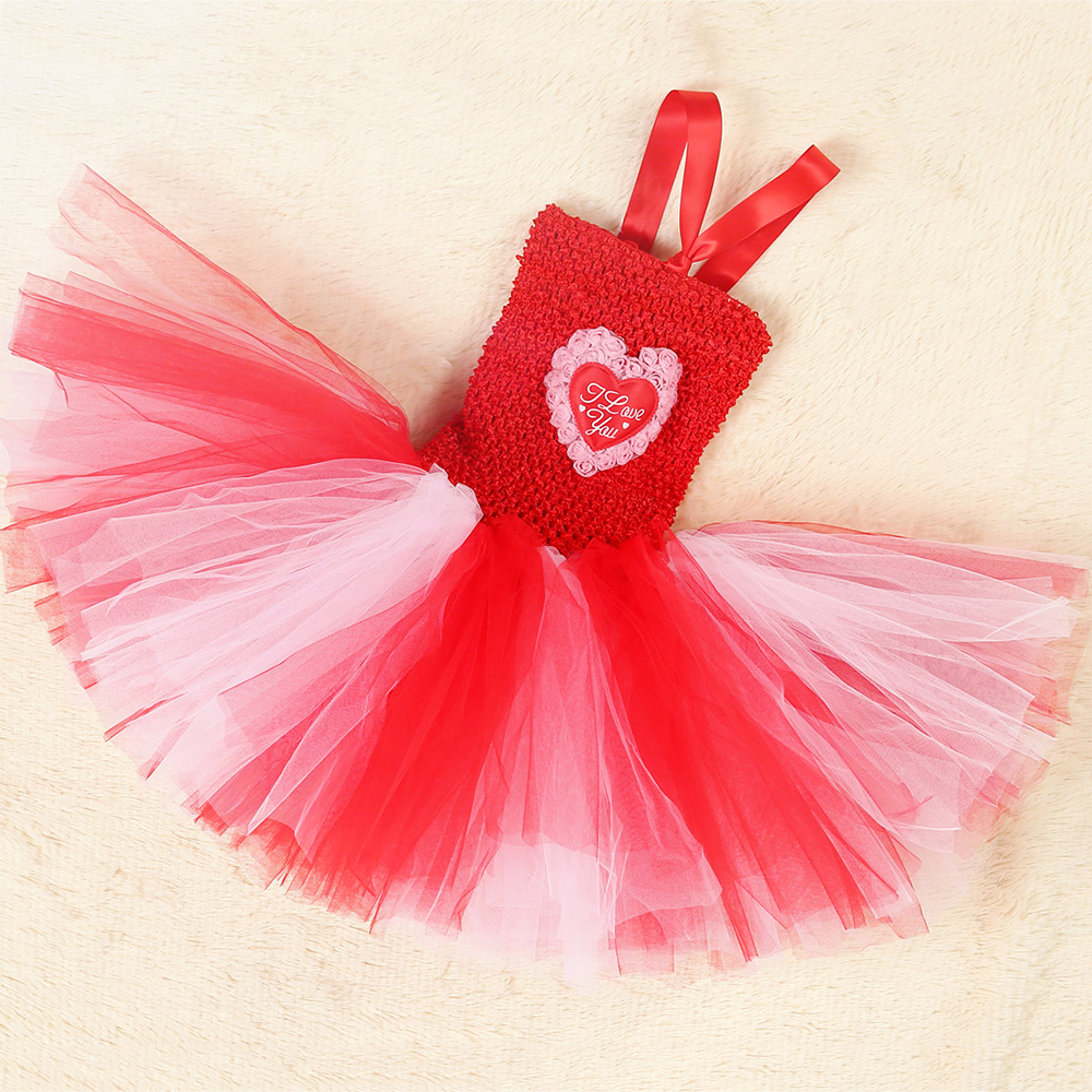 Red White Queen of Hearts Fancy Dress Costume Valentine\`s Day Knee Length Heart Pattern Tutu Dress Princess Dress for Girls 1-14 (5)