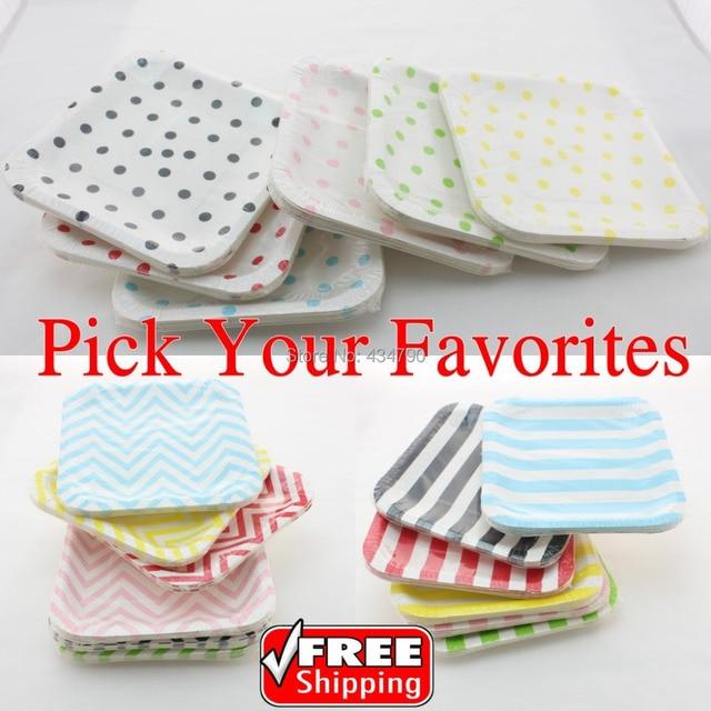 60pcs 7  Pick Your Colors Square Paper Plates Red Black Pink Blue Yellow Green Stripe  sc 1 st  AliExpress.com & 60pcs 7
