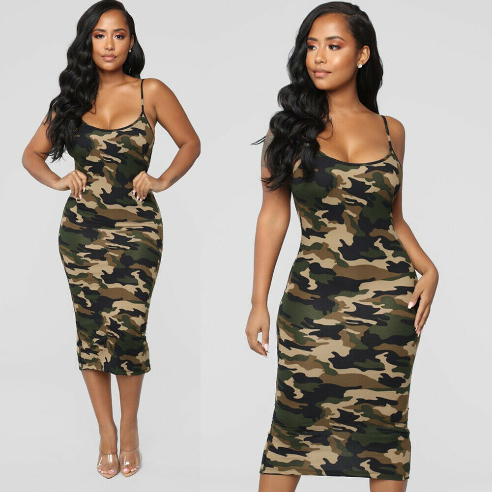 Lady Summer Casual Dresses Bodycon midi dresses Women Camouflage Army shoulder straps Dress Plus Sizes S XXL|Dresses| - AliExpress