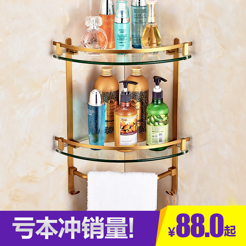 Copper Brushed Bathroom Shelves Wall Corner Mounted Storage Basket Rack Holder with Hooks Towel Bar Bathroom Accessories цена