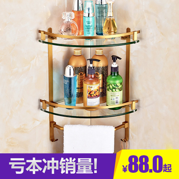Copper Brushed Bathroom Shelves Wall Corner Mounted Storage Basket Rack Holder with Hooks Towel Bar Bathroom Accessories