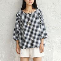 Plaid Shirt Women Basic Cotton Plus Size Casual Shirts Women Long Sleeve O Neck Tops Red