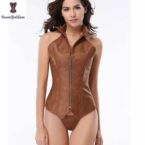 Image 2 - Halterneck Brown Corset Steampunk Overbust Bustier Steel Boned Zipper Plus Size Corselet Punk Leather Korset Outfit Body Shaper