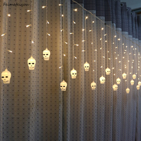 Feimefeiyou 5m 216 leds Skull And Crossbones Fairy Lights LED Curtain String Lights Indoor Christmas Party Decoration