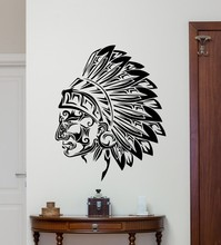New arrival American Wall Vinyl Decal Tribal Indian Chief Sticker Head Decor Art Room