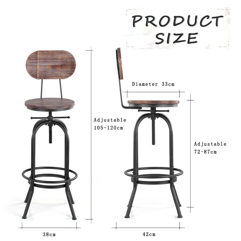 Ikayaa Industrial Chic Bar Stool Height Adjustable Swivel Kitchen Dining Chair Pinewood Top With Powder coated Thick Steel Frame