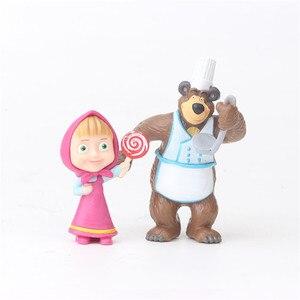 Image 2 - 10 Pezzi/set Russia Masha e Orso Giocattolo Figura Bambola Decorazione Della Casa Masshe Action Figure Creativo Masha Orso Bambola Regalo Per bambini