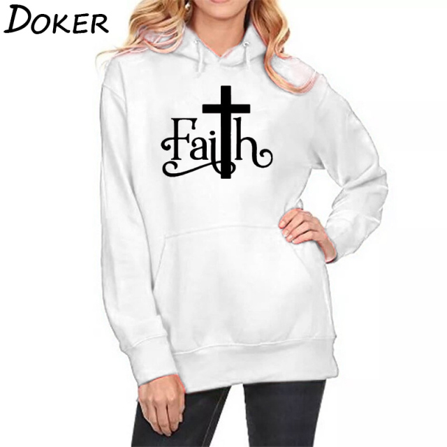 2018 Autumn New Faith Letters Print Hoodies Women Casual Pocket Sweatshirts Plus Velvet Warm Oversized Kawaii Pullover Hoodies