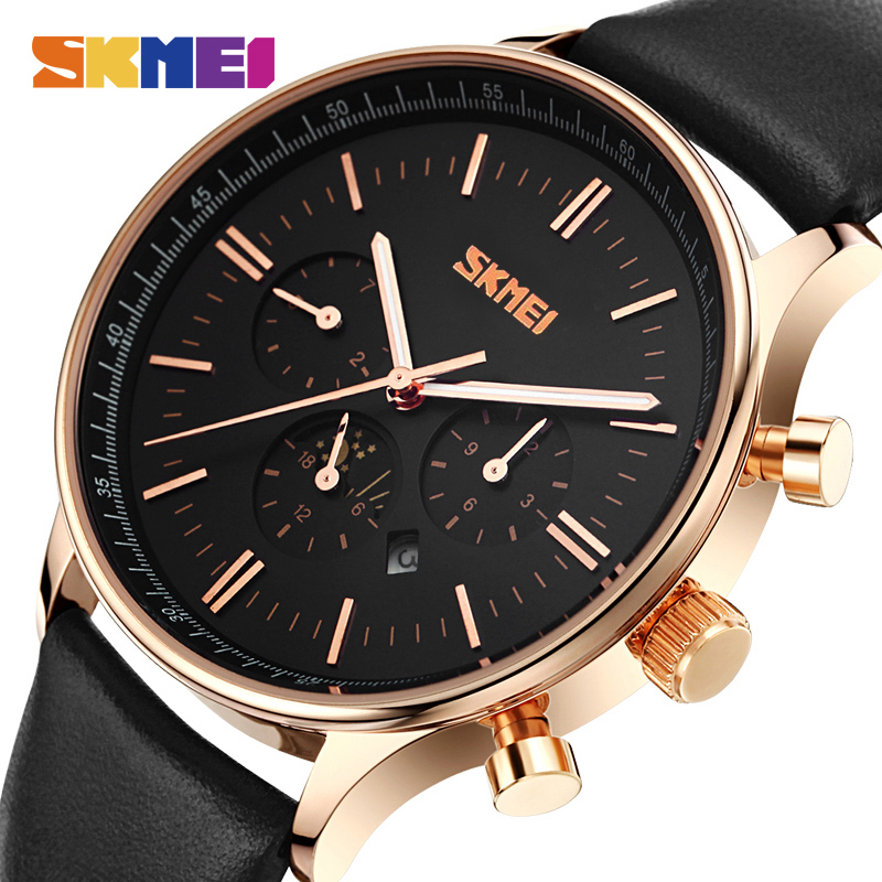 SKMEI Fashion Quartz Watches Men Top Brand Luxury Business Watch Male Waterproof Leather Casual Wristwatches Relogio Masculino 2017 new top fashion time limited relogio masculino mans watches sale sport watch blacl waterproof case quartz man wristwatches