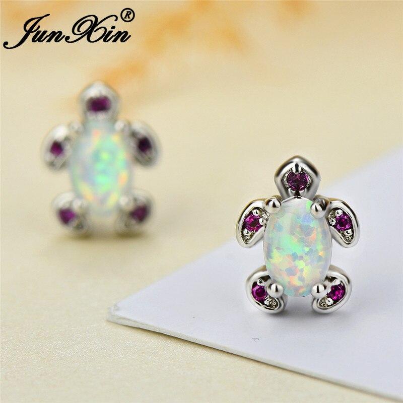 JUNXIN Cute White Blue Fire Opal Turtle Stud Earrings For Women Silver Color Oval Birthstone Red Zircon Earrings