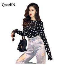 QoerliN Moon Printed T-Shirts Long Sleeve Autumn Winter Basic Top Female O-Neck Casual Tee Fashion 2018 New Arrivals Black White
