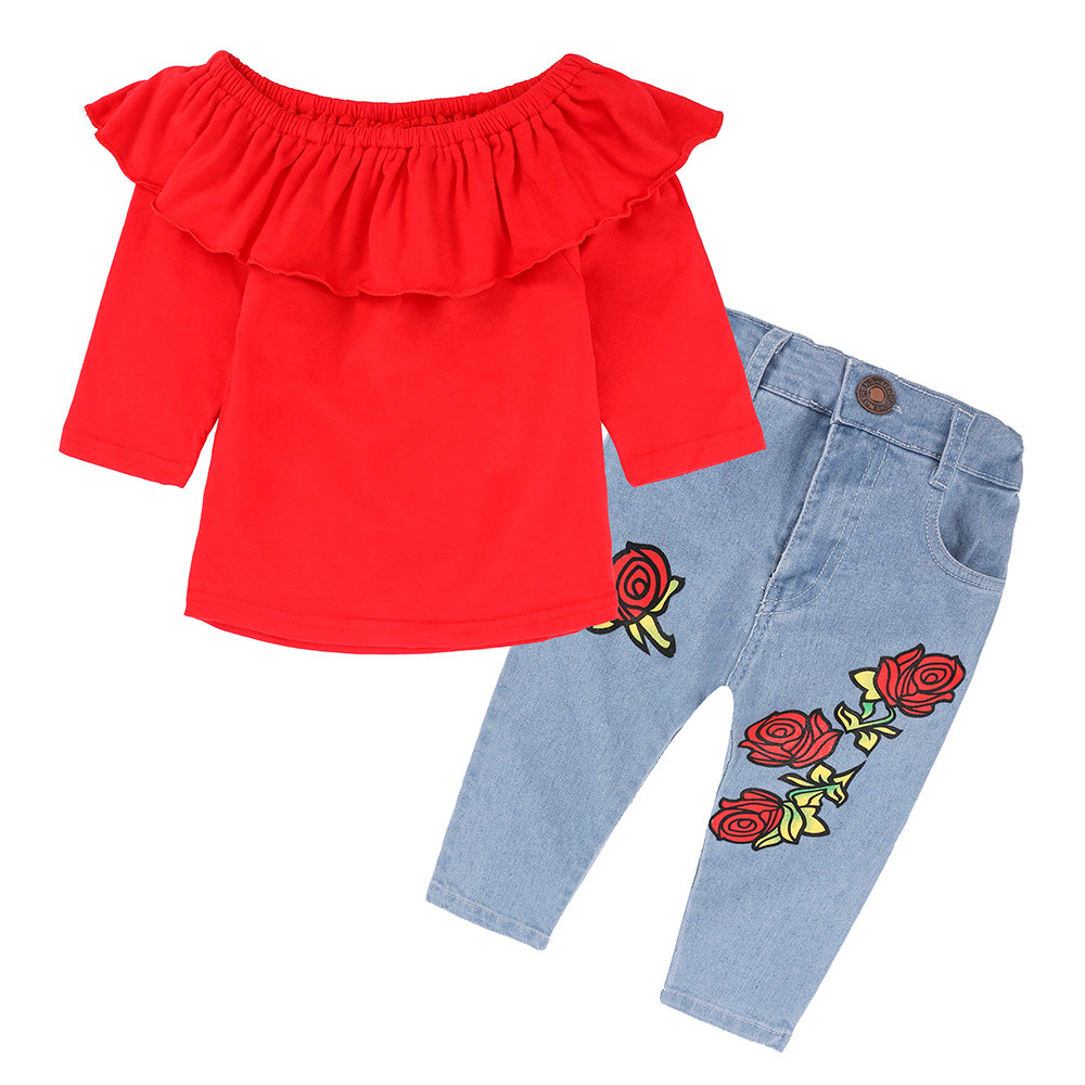 Toddler Baby Girls Clothing Set Off Shoulder RED long sleeve Top Rose Flower Denim Pant outfit