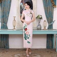 Для женщин новые летние Винтаж Qiapo Элегантное свадебное платье пикантные с цветочным принтом Cheongsam Плюс Размеры Китайская традиционная Vestidos 3XL