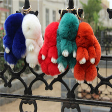 Fashion Rabbit Fur Keychain Pendant for Handbag Car Accessories KeyChain Children Headwear 13-15com Solid Rabbit Little Fox Fur