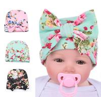 2016 New Design Baby Hats Big Bow Floral Cotton Hats Newborn Beanie Neonate Caps 0-3M MZ002