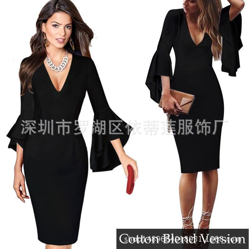 Короткие вечерние платья, сексуальные коктейльные платья с v-образным вырезом и длинными рукавами,, платье длиной до колена, коктейльное платье с оборками, повседневное облегающее платье - Цвет: Black