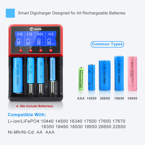 Image 3 - VONTAR VT4 4 חריצים LCD סוללה מטען נטענת סוללה עבור NiMH Ni CD LiFePo4 AA AAA 26650 14500 22650 18650 PK D4 D2