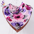 [BYSIFA] Ladies Dulce Rosa Púrpura Cuadrados Bufandas Otoño Invierno Crepe Satin Bufandas Pañuelos Musulmanes 90*90 cm satén de Seda de La Bufanda