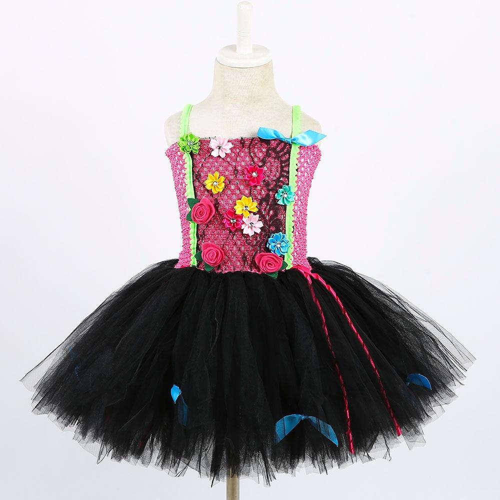 a287a45aa ... Halloween Punk Rock Star Cosplay Tutu Dress for Girl Kids Lace Flower  Dress Ball Gown Child ...