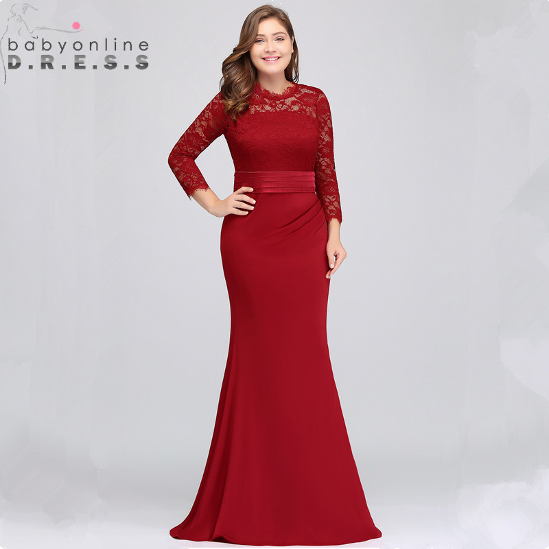 Plus Size Lace Mermaid Long Evening Dress Elegant Three Quarter Sleeve Evening Gowns with Sashes Abendkleider Robe de Soiree(China)