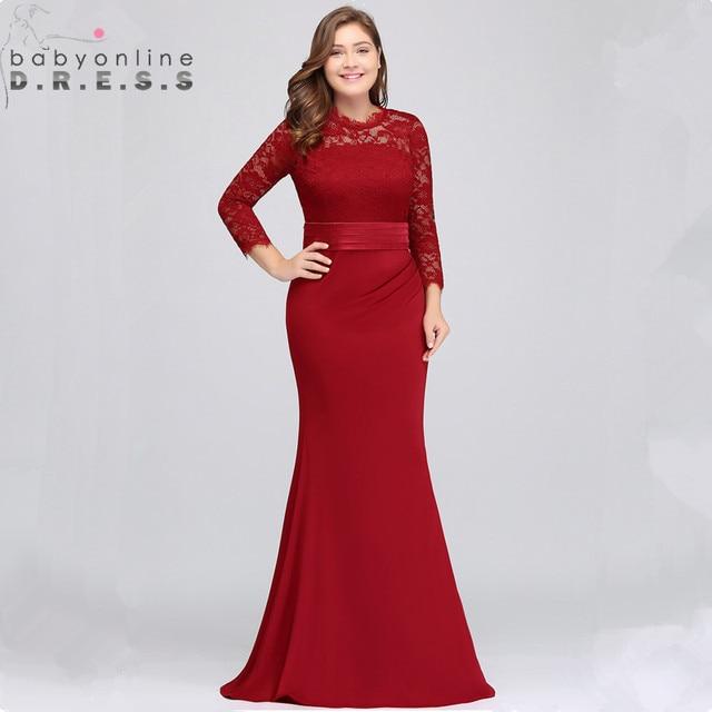 Us stock plus size laço sereia vestido de noite longo elegante 3/4 manga vestidos de noite com faixas abendkleider robe de soiree