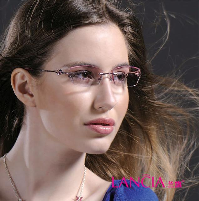 8007 de cristal da mulher sem aro óculos óptica óculos de miopia hipermetropia óculos óculos de prescrição