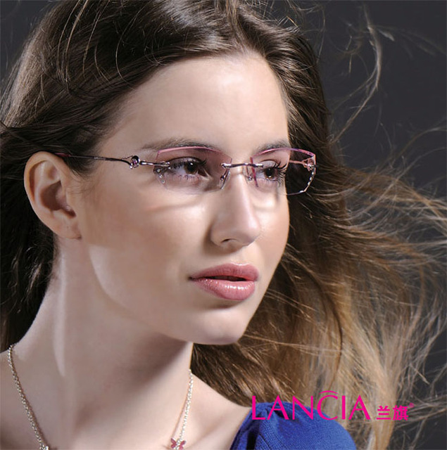 8007 de la mujer de cristal óptico sin montura gafas gafas de miopía hipermetropía gafas gafas graduadas