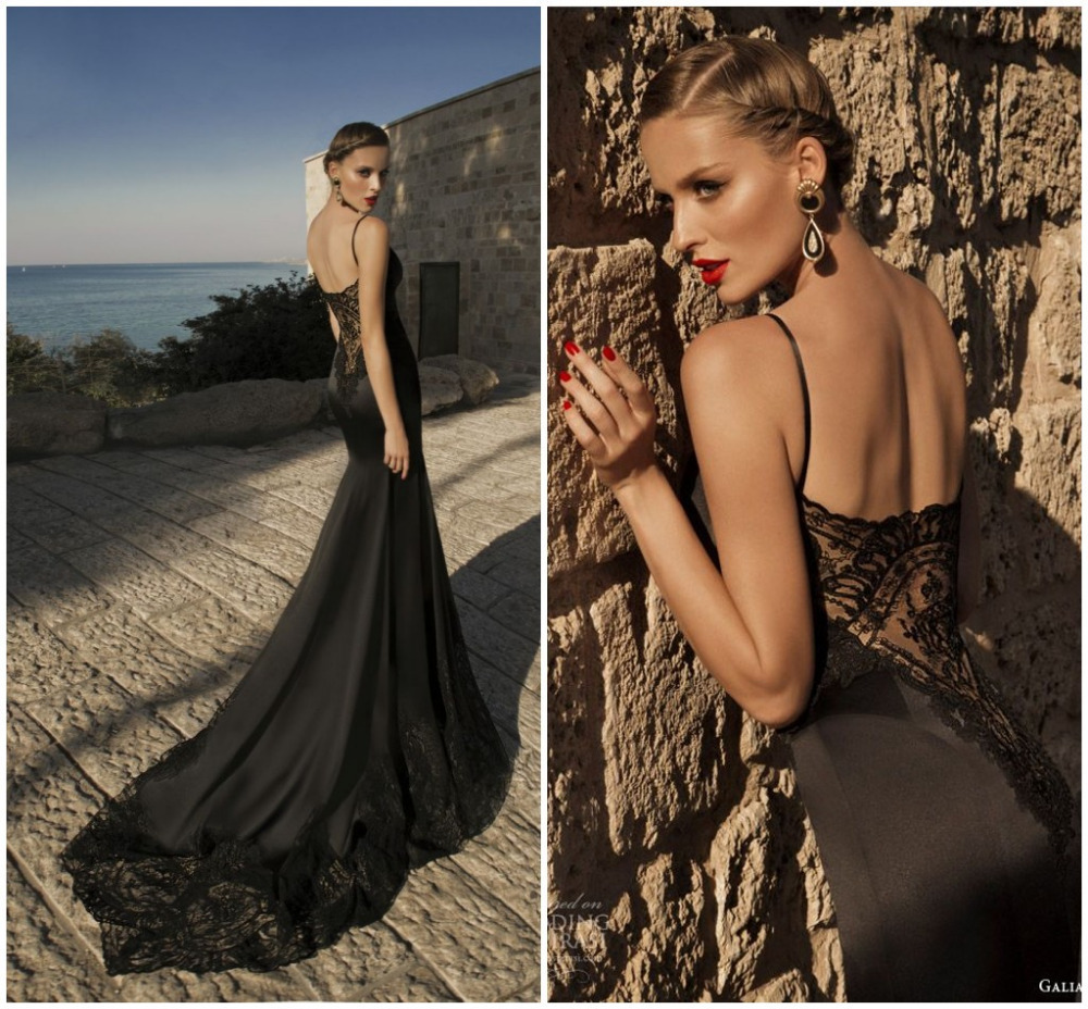 Galia Lahav 2015 Designers Mermaid Court Train Spaghetti Straps Wedding Dresses Satin Sheer Lace Backless Black Bridal Gown - Weddings & Events Collection store
