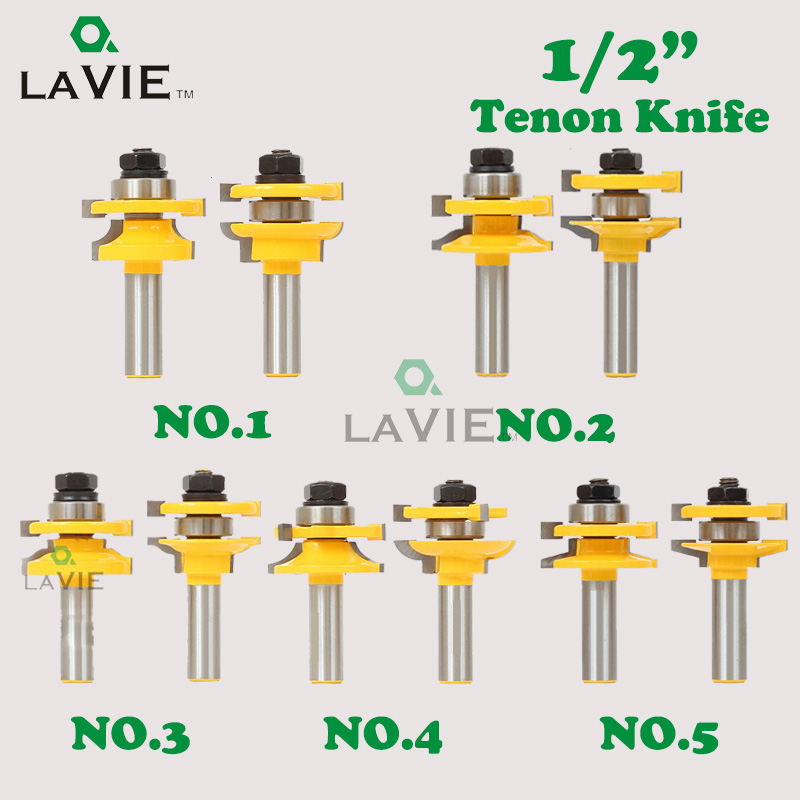 LA VIE 2pcs 1/2 Shank Tenon Knife Router Bits Set Door Working Cutter Matched Tongue Groove T-handle Rail And Stile Bit MC03026 1 2 door nail cutter knife household west tenon joints fit together stitching carpentry knife blade 3pcs et