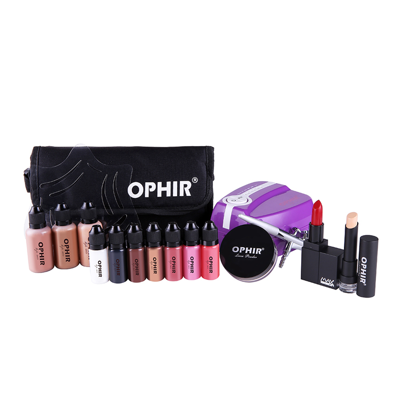 OPHIR Professional Airbrush Cosmetic Makeup System Set with 5 Adjustable Speed Compressor 30ML Foundation 10ML Blush
