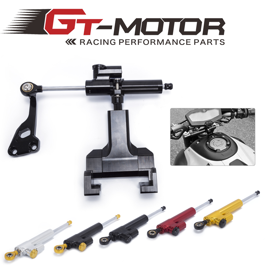 GT Motor -FREE SHIPPING Motorcycle Aluminium Steering Stabilizer Damper Mounting Bracket Kit For YAMAHA MT-07 FZ07 2014-2017 free shipping for honda cb400 vtec 1999 2010 motorcycle aluminium steering stabilizer damper mounting bracket kit