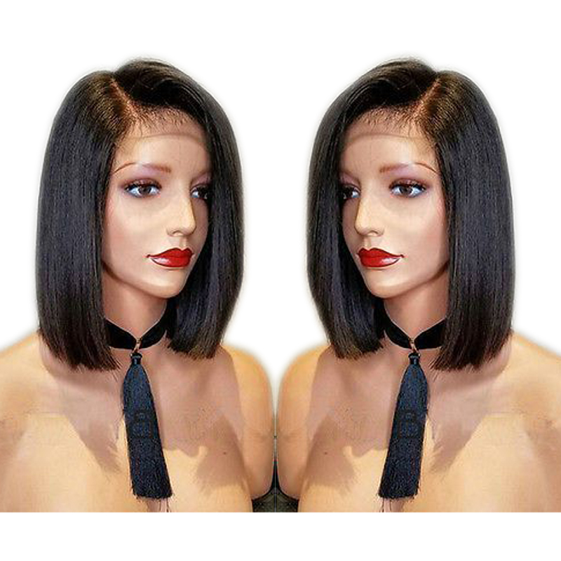 DLME Side Part 14inch Bob Wig Straight Synthetic Lace Front Wig With Baby Hair Glueless Heat Resistant Wigs For Black Women
