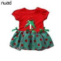 Infant Girl Christmas Tree Dress 2016 New Polka Dot Mini Dresses For Newborn Baby Short Sleeve