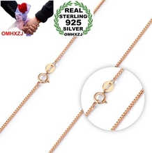 OMHXZJ Wholesale simple Fashion Woman 18 inch 1.0mm Platinum 925 Sterling Silver Rose gold Round Box Short Chains Necklaces NK12