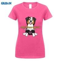 GILDAN Moda Komik t shirt bayan Retro Köpekler için Bizim Arkadaş T-shirt Avustralya Çoban Kırmızı Tri Atlama Vardır Guy Üst