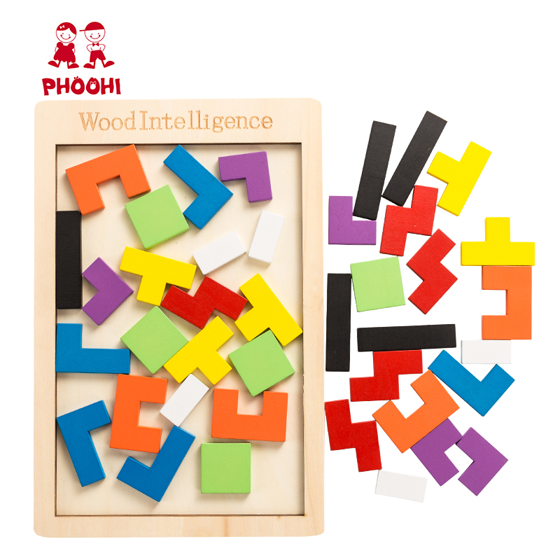 Wooden Tetris Tangram Intelligence Puzzle Children Educational Jigsaw Puzzle Game Toy For Kids PHOOHI