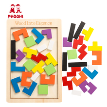Wooden Tetris Tangram Intelligence Puzzle Children Educational Jigsaw Game Toy For Kids PHOOHI