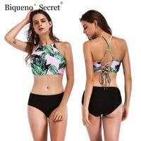 Brand Crop Top Bikini Swimwear Femmes Swimsuit High Neck Reversible Bathing Suit Sexy Bandeau Bikini Set